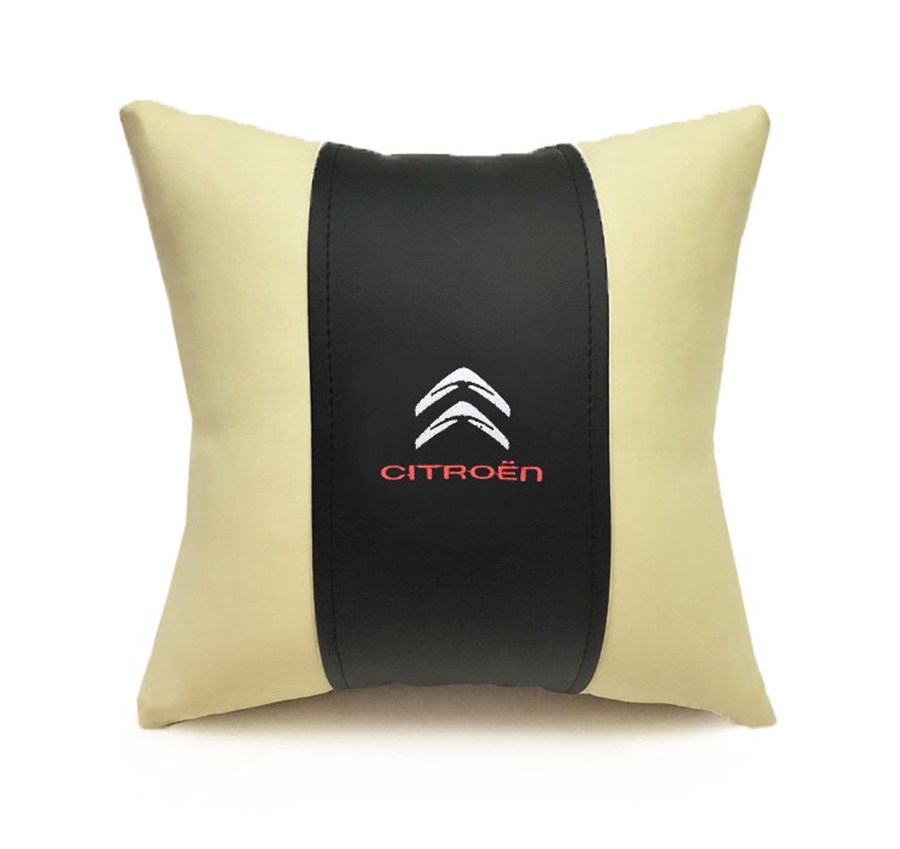 Подушка декоративная из экокожи CITROEN (черн.-беж. 33Х33см)