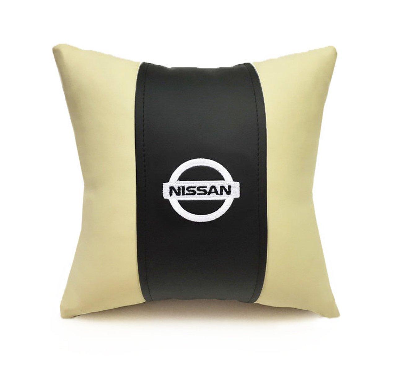 Подушка декоративная из экокожи NISSAN (черн.-беж. 33Х33см)