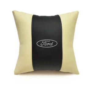 Подушка декоративная из экокожи FORD (черн.-беж. 33Х33см)