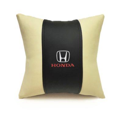 Подушка декоративная из экокожи HONDA (черн.-беж. 33Х33см)