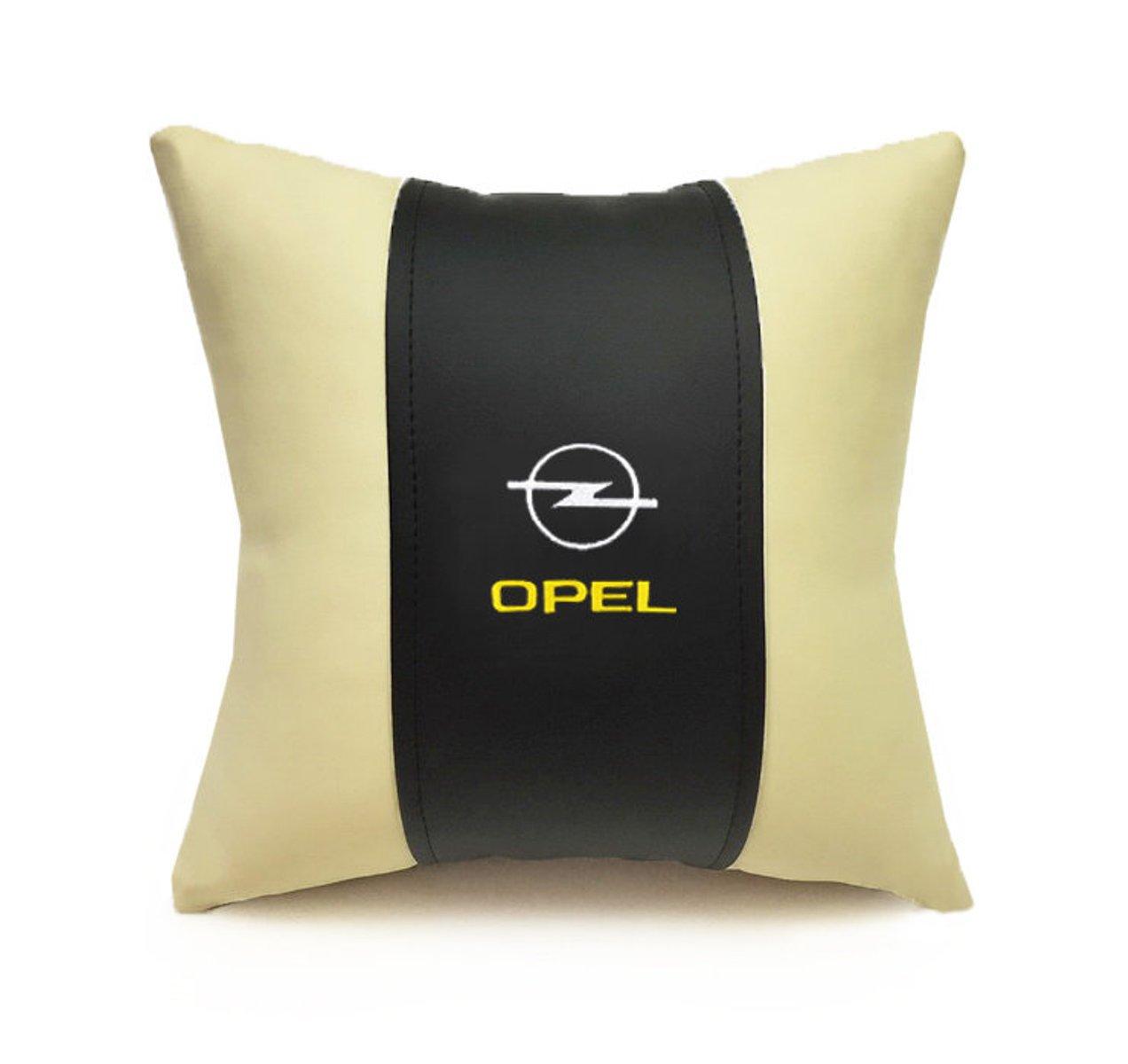 Подушка декоративная из экокожи OPEL (черн.-беж. 33Х33см)