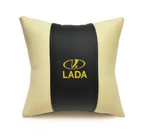 Подушка декоративная из экокожи LADA (черн.-беж. 33Х33см)