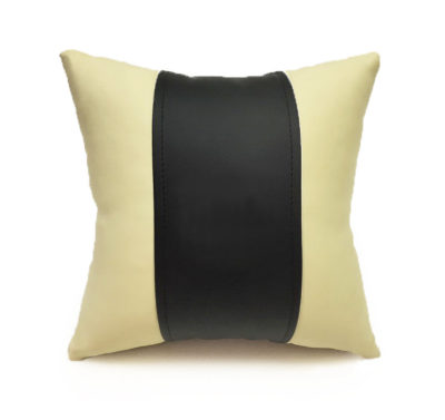 Подушка декоративная из экокожи, без логотипа (черн.-беж. 33Х33см)