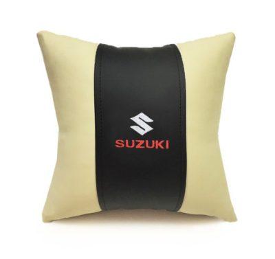 Подушка декоративная из экокожи SUZUKI (черн.-беж. 33Х33см)