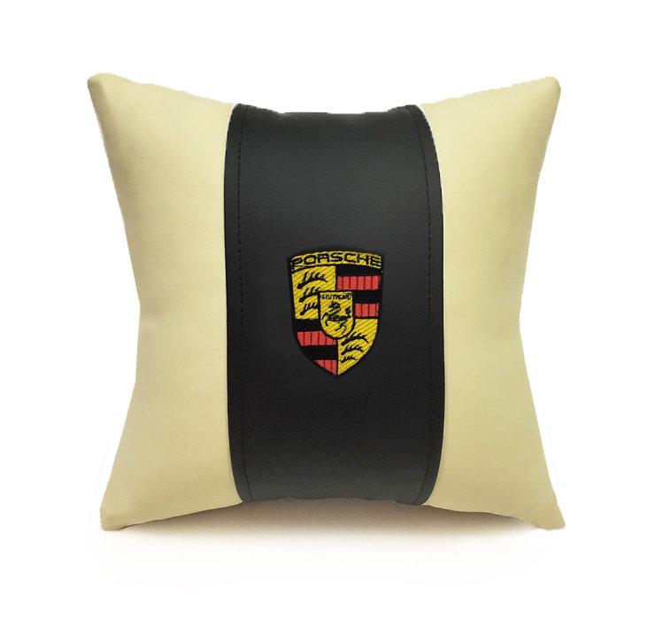 Подушка декоративная из экокожи PORSCHE (черн.-беж. 33Х33см)