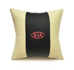 Подушка декоративная из экокожи KIA (черн.-беж. 33Х33см) Арт. 37054