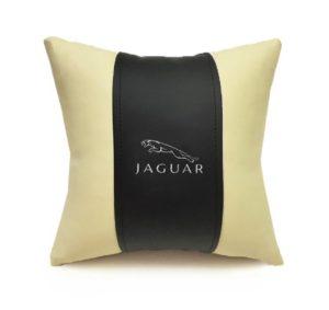 Подушка декоративная из экокожи JAGUAR (черн.-беж. 33Х33см)