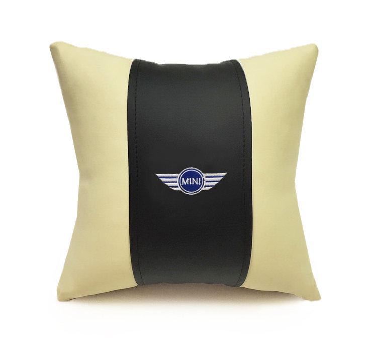 Подушка декоративная из экокожи MINI (черн.-беж. 33Х33см)