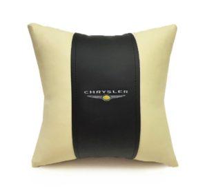 Подушка декоративная из экокожи CHRYSLER (черн.-беж. 33Х33см)