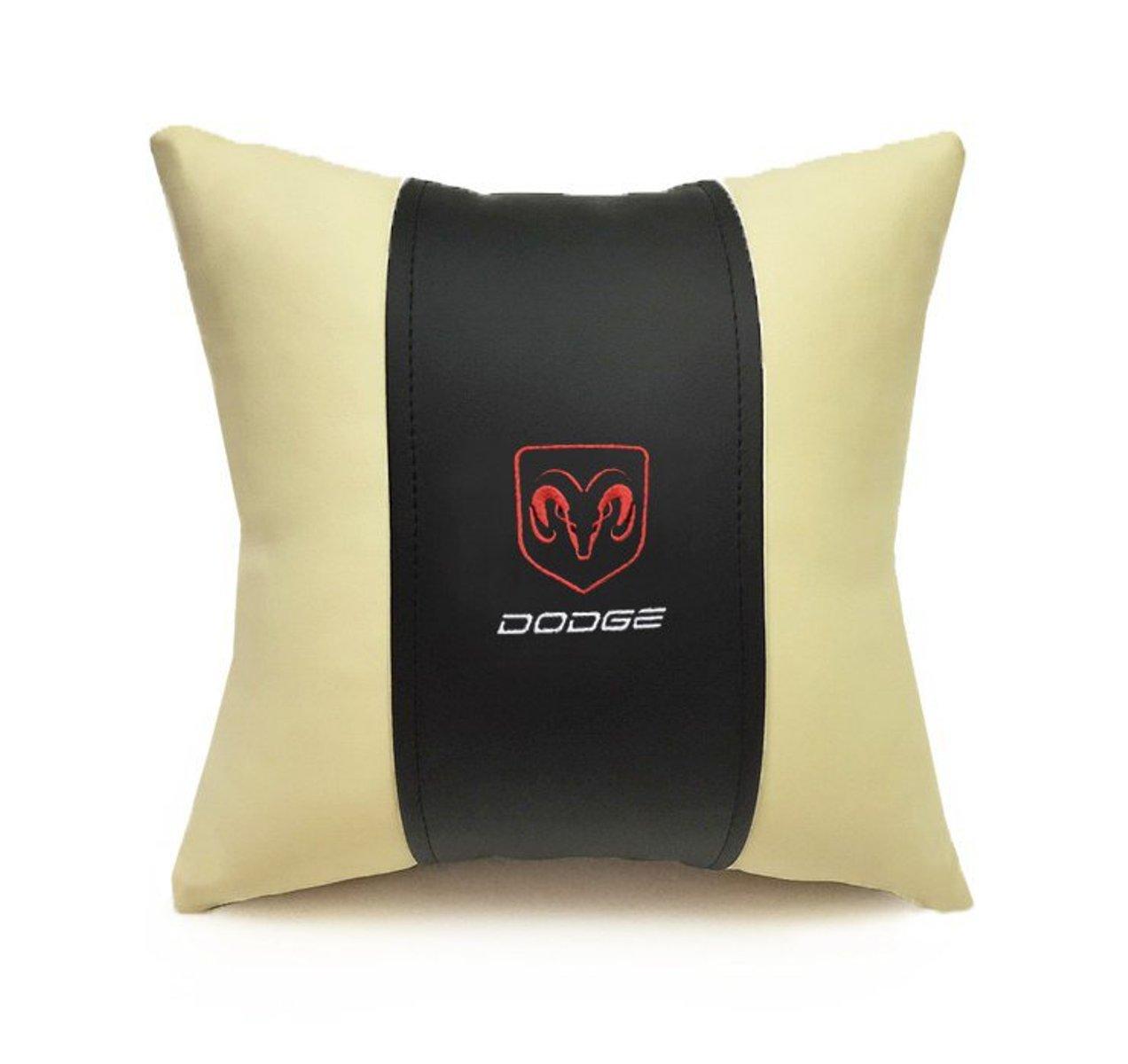 Подушка декоративная из экокожи DODGE (черн.-беж. 33Х33см)