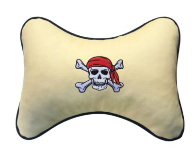 "Подушка на подголовник из экокожи ""Пират"", беж."