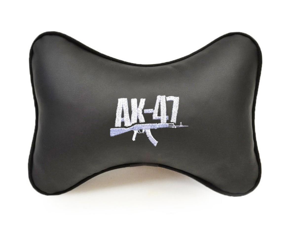 """Подушка на подголовник из экокожи """"АК-47"""", черн."""