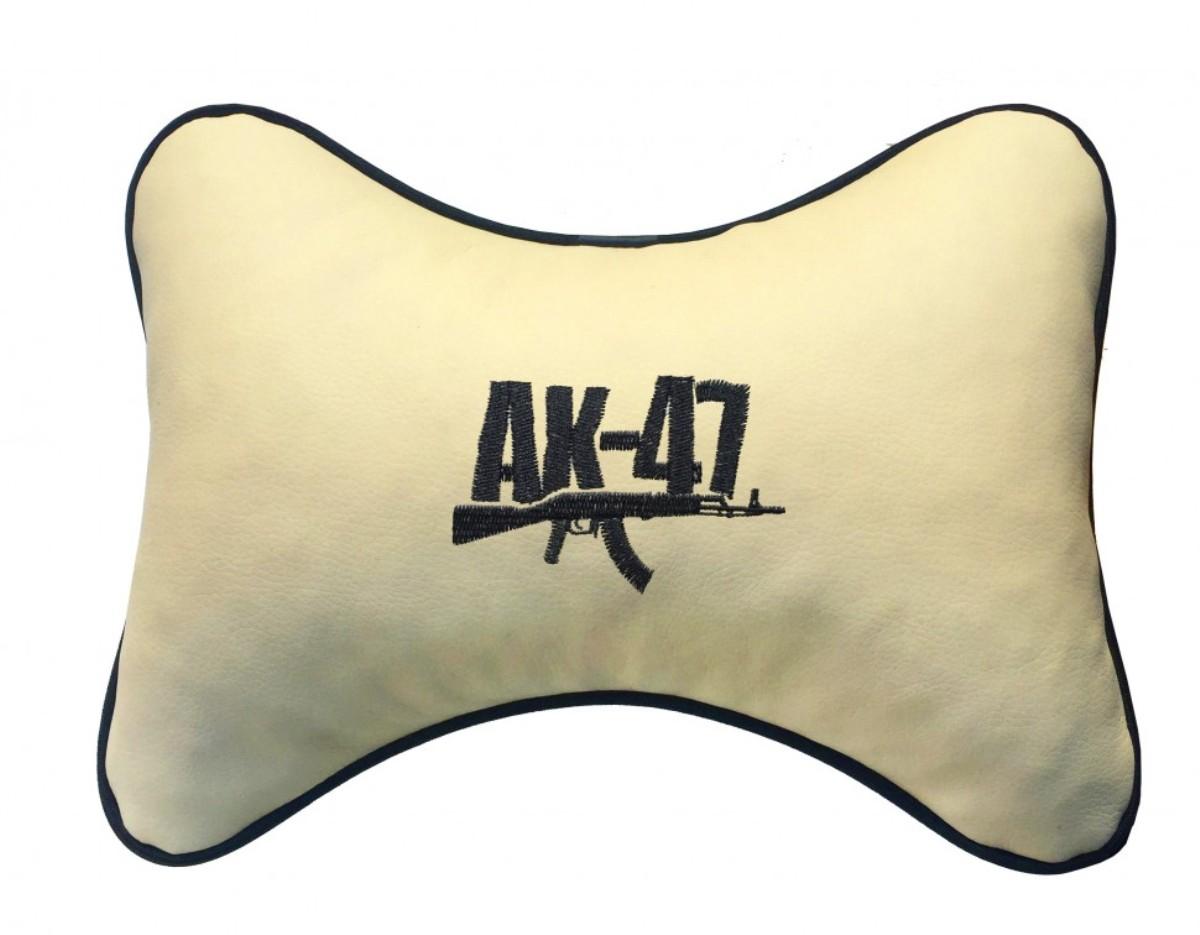 """Подушка на подголовник из экокожи """"АК-47"""", беж."""