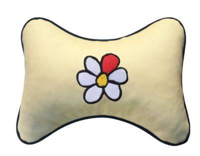 "Подушка на подголовник из экокожи ""Цветок"", беж."
