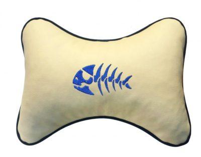"""Подушка на подголовник из экокожи """"Рыба"""", беж."""