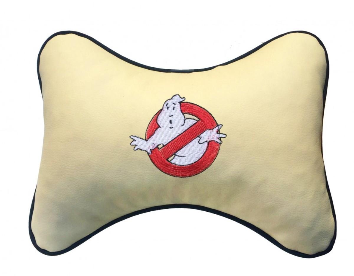 """Подушка на подголовник из экокожи """"Привидение"""", беж."""